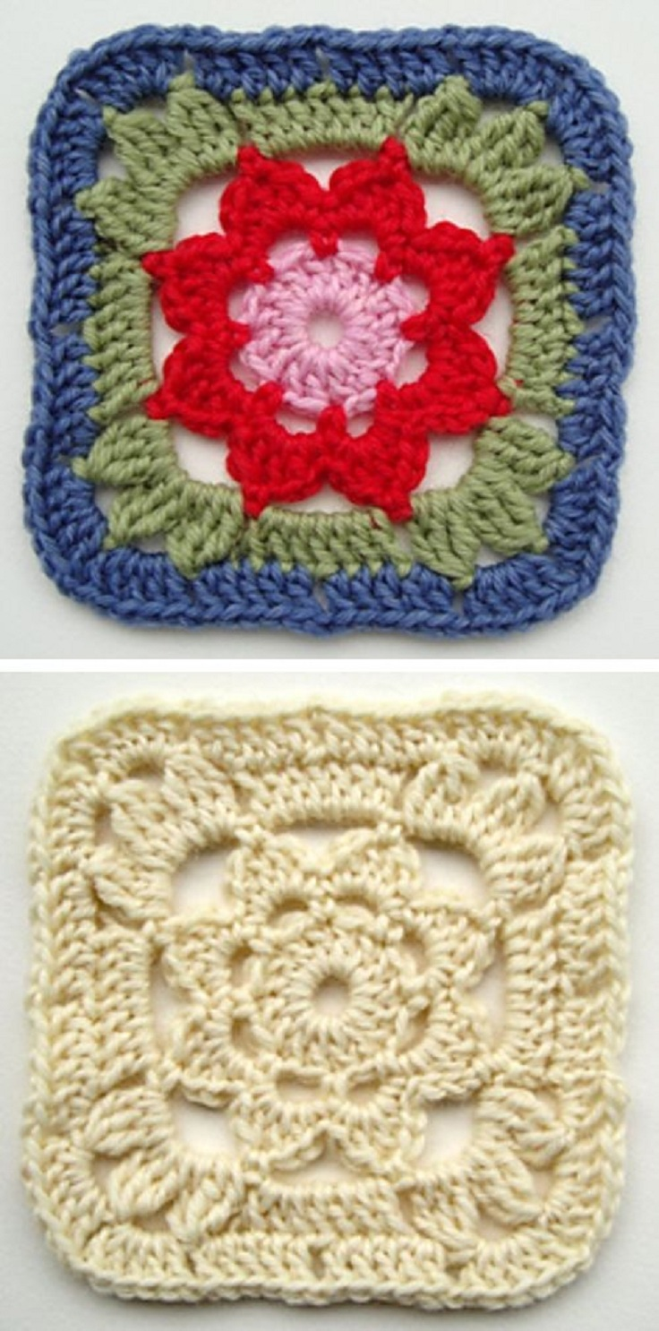 Granny-Square-with-a-Flower