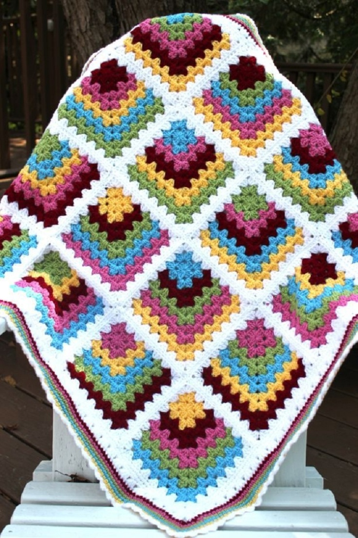Free Crochet Pattern Granny Square Baby Blanket : TOP 10 Free Crochet Granny Square Patterns - Top Inspired