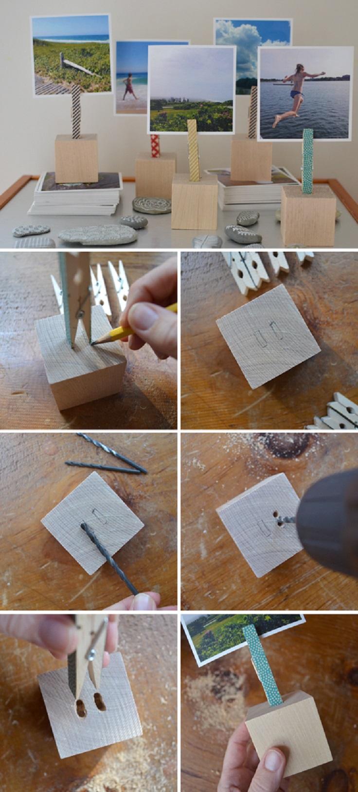 Wooden-block-photo-holders