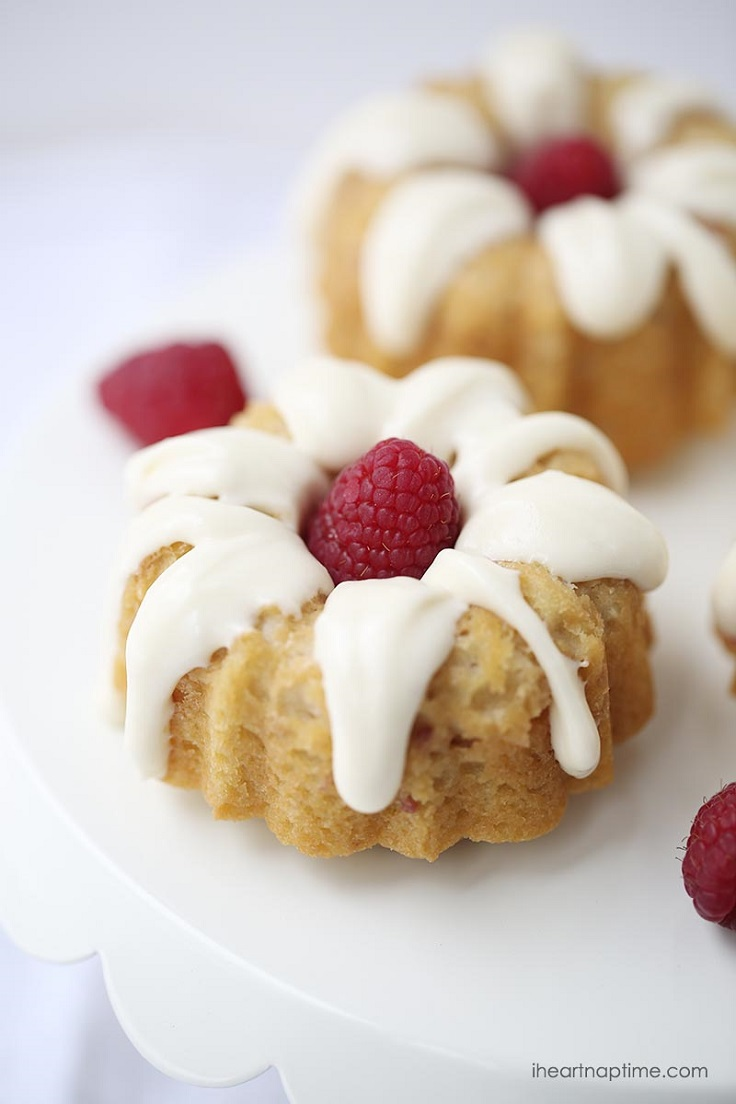 White Chocolate Raspberry Mini Bundt Cakes
