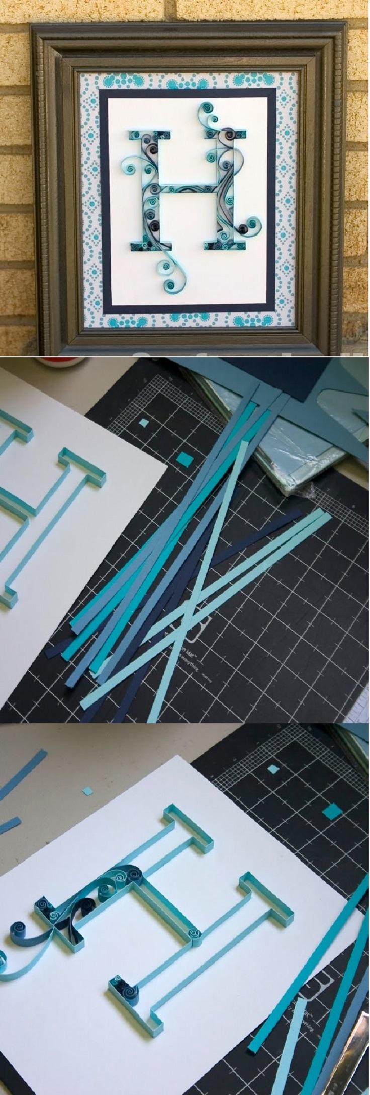 Quilling-Paper-Monogram-FrameHandmade-Decor-Blue-White-Swirls15