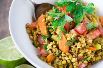 Budda Bowl- A cleansing ayurvedic recipe for khichadi made with sprouted mung beans and kashi... healing and detoxing