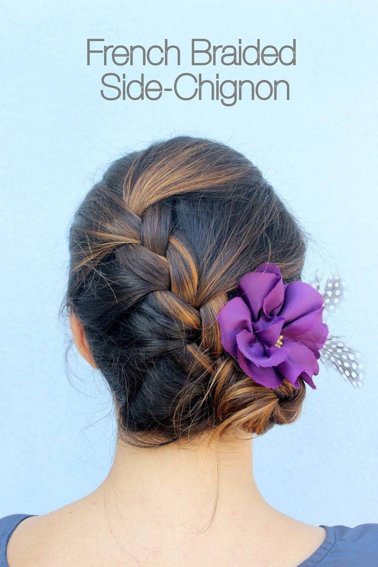 French-Braided-Side-Chignon