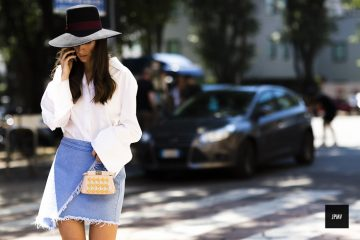 blue skirt, white shirt