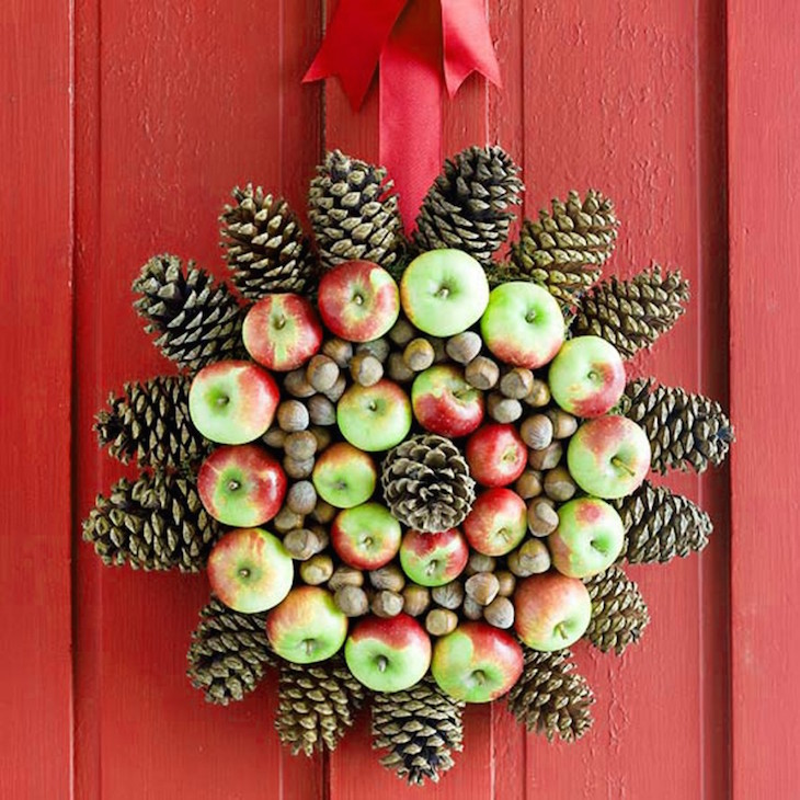 topNatural-unique-wreath-made-from-pine-cones-and-apples-also-ribbon-as-Christmas-door-decoration