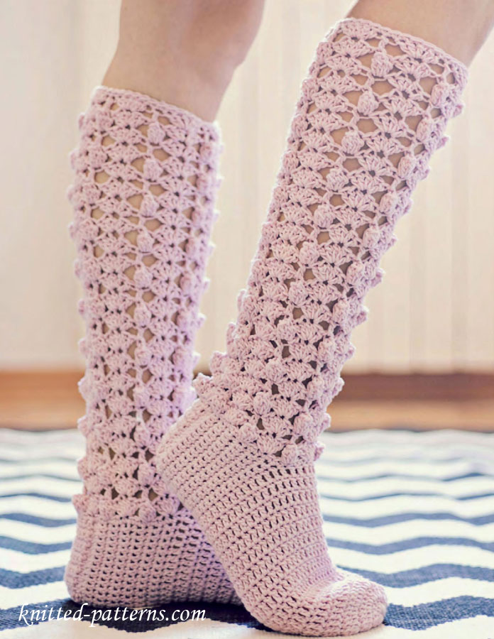 Free Crochet Sock Patterns Using Sock Yarn : TOP 10 Free Crochet and Knit Patterns for Knee Socks