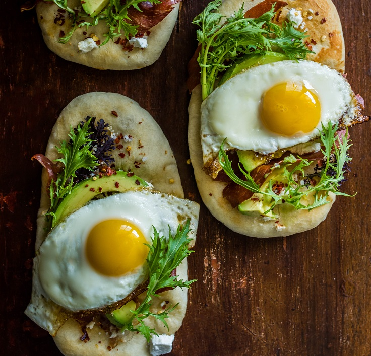 Breakfast Flatbread with Avocado, Feta, and Crispy Prosciutto