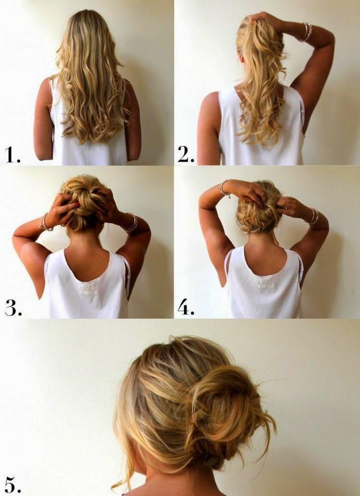 Прическа своими руками на длинные волосы пучок