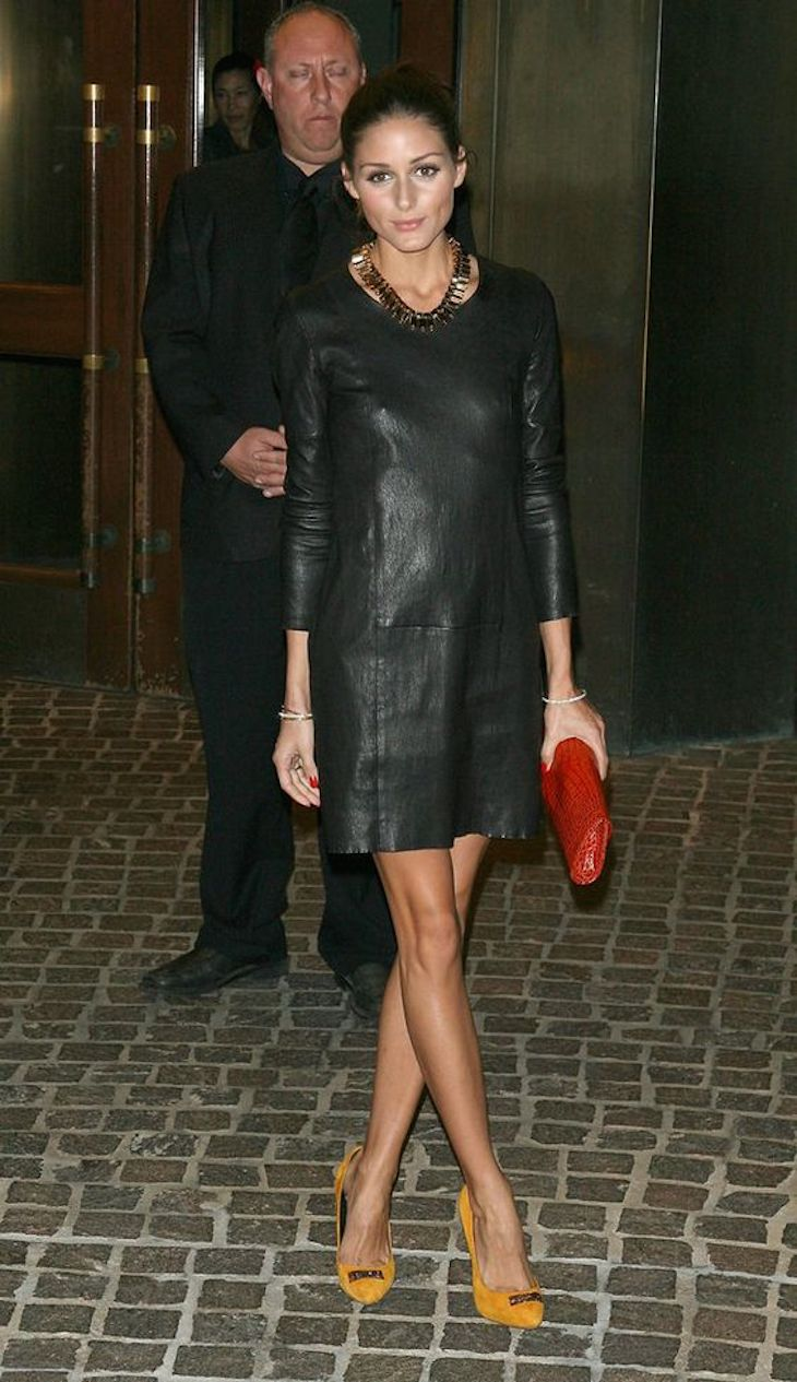 leather-dress-and-red-clutch