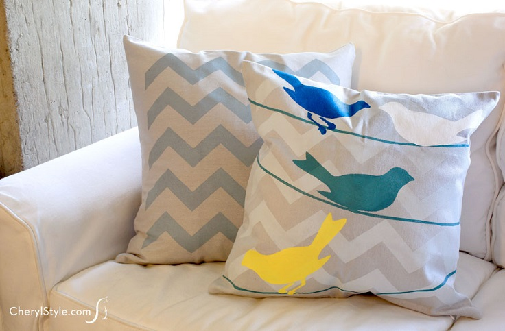 Stenciled-Birds-Pillowcase