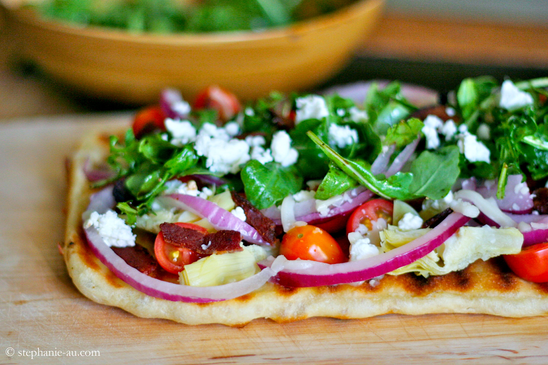 Grilled-Bacon-Artichoke-Arugula-and-Goat-Cheese-Flatbread-Pizza