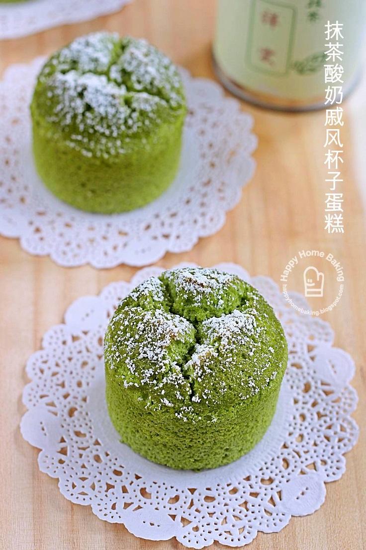 Matcha-Yoghurt-Chiffon-Cupcakes