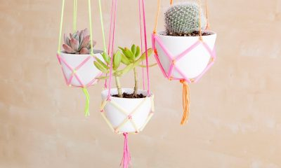 Neon Straws Hanging Planter