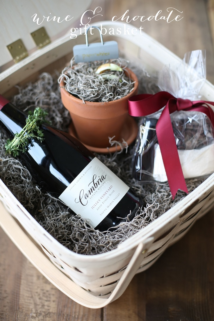Wine-Chocolate-Gift-Basket-with-DIY-Molten-Lava-Cake-Mix-Gift