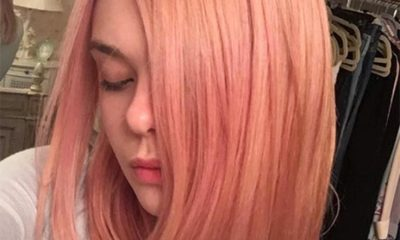 Elle Fanning's dusty rose hair