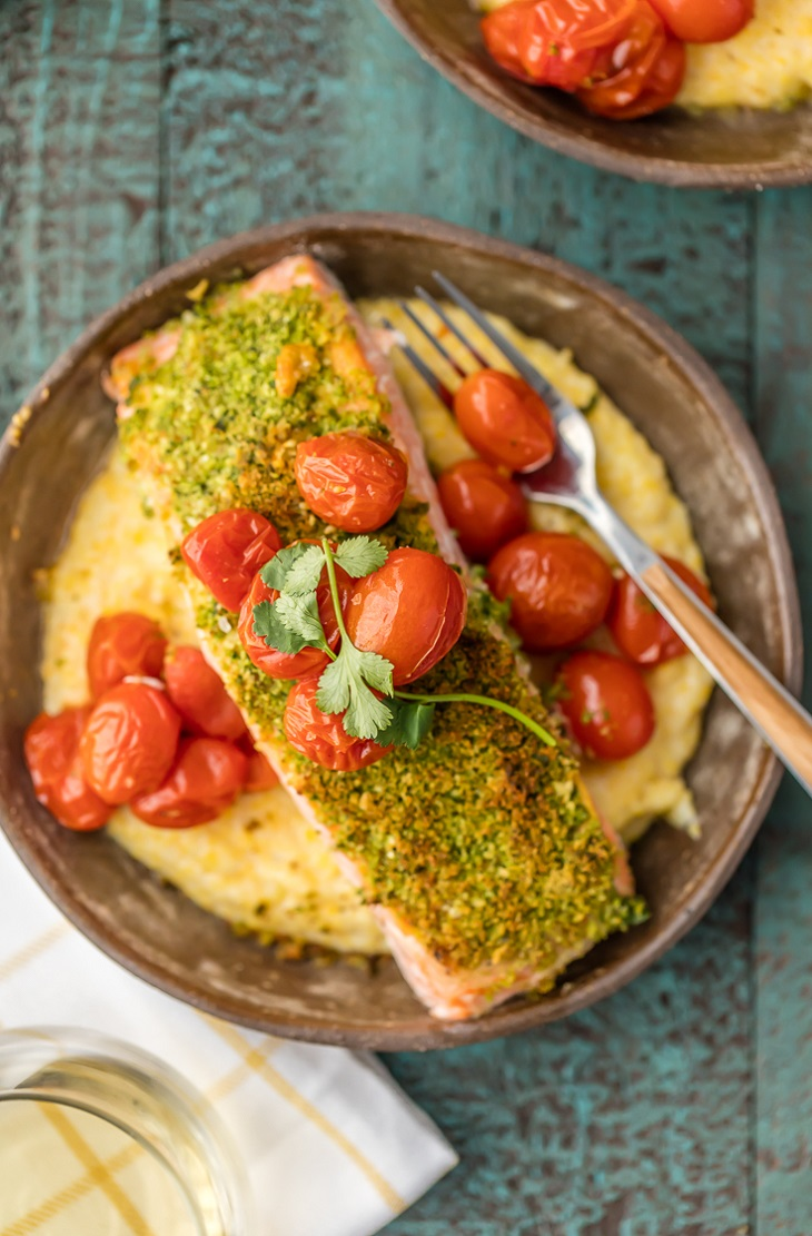 Herb-Crusted-Salmon-with-Goat-Cheese-Polenta-1