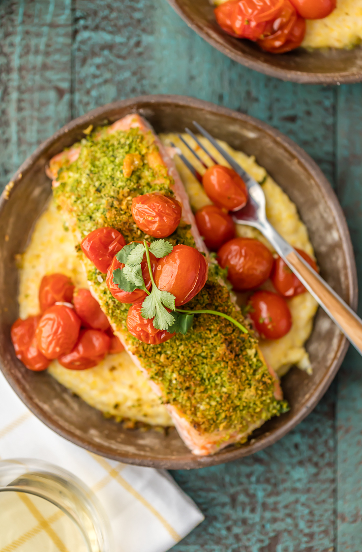 Herb-Crusted-Salmon-with-Goat-Cheese-Polenta