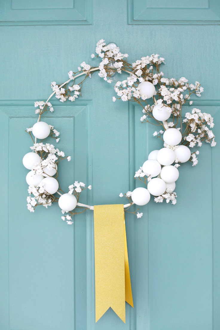 Winter-Wreath-with-Coat-Hanger-and-Ping-Pong-Balls