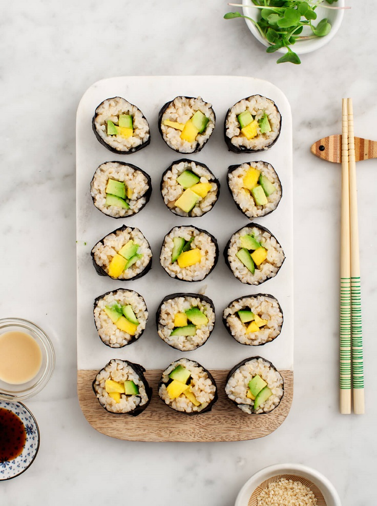 Avocado-Mango-Brown-Rice-Sushi
