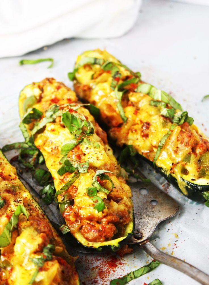 Cheddar-and-Sausage-Stuffed-Zucchini-Boats