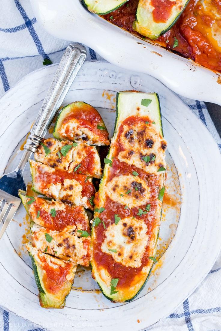 Goat-Cheese-Marinara-Stuffed-Zucchini-Boats