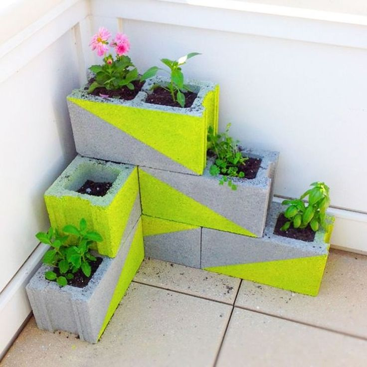 Painted-Cinder-Block-Planters